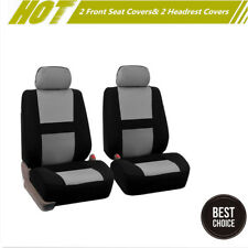 2PCS Breathable Comfort Mesh&Sponge Car Front Seat Covers Pad w/Headrest Covers