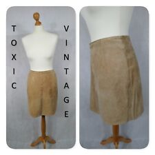 VINTAGE 1990's LIGHT TAN SUEDE MINI SKIRT 12-14 RETRO BRIT POP INDIE GEEK CHIC