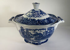 "ARABIA FINLAND ""LANDSCAPE BLUE"" PATTERN SOUP TUREEN WITH LID (1955-1970)"