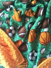 Sports Themed Fleece and Minky Blanket 42X36 inch Baby thru Child Sized Afghan