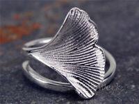 Silberring Ginkgo Blatt Ginko Natur Ring Silber 925 Verstellbar Offen Damenringe