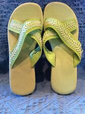 NOS AVON WEDGE SANDAL GREEN CORK LIKE MATERIAL WITH GREEN BEADS SIZE MM (7-8)