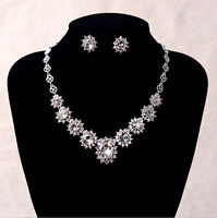 Lovely Clear Crystal Silver Pierced Clip on Wedding Party Prom Necklace Earrings