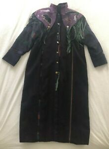 Vintage 90s Santa Fe Re Creations Purple Leather Trench Coat Denver RARE Large
