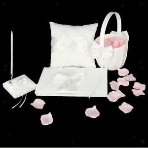 Ivory Wedding Guest Book and Pen Stand Ring Bearer Pillow Flower Girl Basket SET