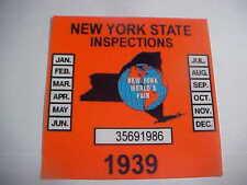 new york 1939 inspection sticker windshild (worlds fair)