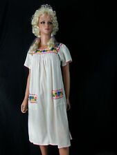 Vtg Dress Tunic Off White Cream Floral Embroidery Peasant Festival Boho Hippie S