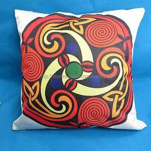 Celtic trinity knot mandala cushion cover orange red