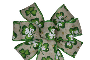 """Small 5-6"""" Hand Made Shamrock Wired Wreath Bow - St. Patrick's Day Spring"""