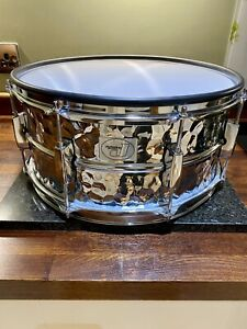 "Jobecky 14"" Chrome Hammered E - Snare Drum ( Excellent Condition ) ."