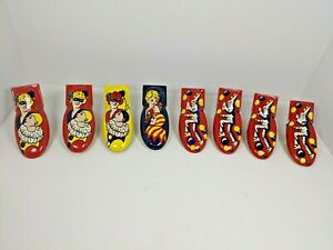 8 VINTAGE Tin Toy KIRCHHOFF Halloween Masquerade Jester CLICKER Noise Maker