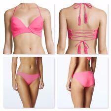 Coco Rave Pretty in Pink Underwire Halter Bikini Top & Bottom~Sz 36D/L~NWT $98