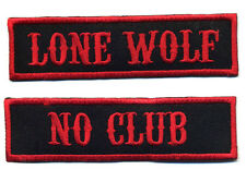 No Club Lone Wolf patch set badge Hot Rod motorcycle biker MC black and red