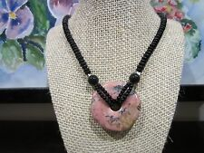 Stunning Chinese Big Natural Pink/Black Round Drop Pendant w/Necklace 20 IN 58gr