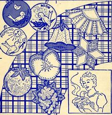 Vintage Embroidery transfer repo 9116 Pot Holders Orchid Pansy Grape Fan Quilt