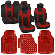 9 Pc Monaco Red Racing Stripe Seat Cover with 4 Pc Red Diamond Plate Rubber Mats