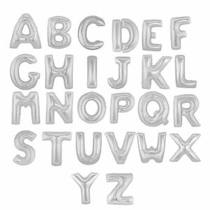 """SILVER LETTERS & NUMBERS Foil Balloons 34"""" Giant A-Z 0-9 Helium/Airfill ALPHABET"""