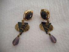 Vintage Estate Costume dangle Earrings purple gold black