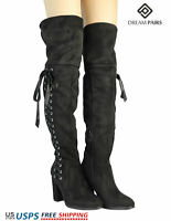 DREAM PAIRS Womens Thigh High Fashion Over The Knee Boots Block Heel Boots