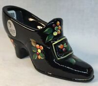 Fenton Art Glass Hand Painted Harvest Berry On Black Shoe With Buckle And Stone