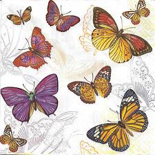 Lot de 4 Serviettes en papier Papillons Decoupage Collage Decopatch