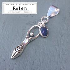 Silver Lapis Lazuli charm & Tibetan Silver Goddess Pendant Wicca Witch Pagan