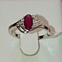 925 STERLING SILVER GENUINE NATURAL RUBY & GENUINE DIAMOND RING SIZE 7