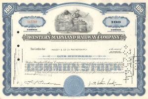 Western Maryland Railway Co. >1963 Maryland & Pennsylvania old stock certificate