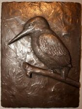 Cold Cast Bronze 'Kingfisher' Sculpture Signed Wall Art Plaque Relief HAND MADE