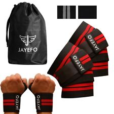 Jayefo Powerlifting Knee Wraps + Wrist Wraps Pairs Set for Gym Exercise deadlift