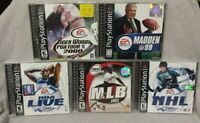 5 Sport Games Lot - Playstation 1 2 PS1 PS2 Madden NFL NHL Tiger Golf NBA MLB