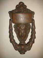 Great antique victorian 19th bronze figural face door knocker perona