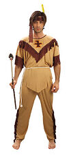 Mens Cream & Brown Red Indian Fringed Fancy Dress Costume American Outfit New