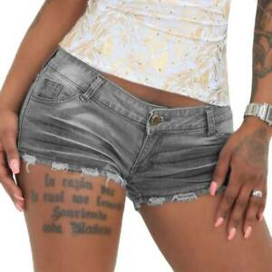 Damen Sommer Jeans Shorts Hotpants Kurzhose Stretch Distressed Denim Jeansshorts