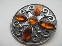 Vintage  Past Times Sterling Silver Amber Celtic Plaid  Brooch