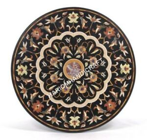 "36"" Elegant Round Marble Dining Table Top Floral Inlay Work Collectible Art E507"