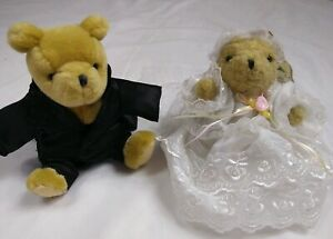 Gund Classic Winnie the Pooh Bride and Groom Bears Wedding Dress Tux w/ Tails