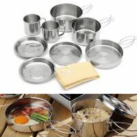 9 Pcs Stainless Steel Camping Cookware Cooking Picnic Bowl Pot Pan Set Outdoor