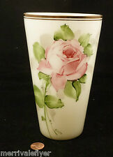Antique Bristol Glass VASE Victorian Big! DELUXE HANDPAINTED MILK GLASS ROSES