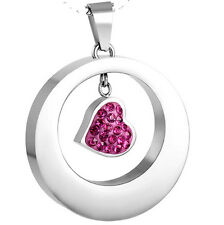 Cremation Jewelry Pink Heart Pendant Keepsake Memorial Urn Necklace w/Chain #98