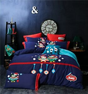 Owl Embroidery 4pcs Blue Bedding-sets Queen King Size Bed Warm Velvet Bedclothes