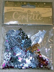 Silver Just Married Table Confetti