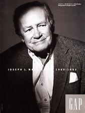 1993 Writer Director Joseph L. Mankiewicz photo GAP Clothing promo print ad