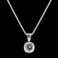 Sterling Silver 925 8mm Round Solitaire CZ Claw Set Pendant & Necklace RRP $90