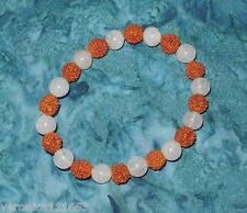 Genuine Rudraksha Rose Quartz Bead NEW Stretch Bracelet Healing Pregnant Mothers