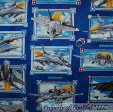 BonEful Fabric FQ Cotton Quilt Blue America Military US Air*Plane Force Jet Star