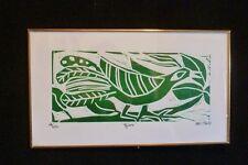 """Signed KIKI Suarez Linoleum Print """"Bird"""" """"Pajaro"""" 1996 250 ed.  GRAPHIC & SWEET!"""