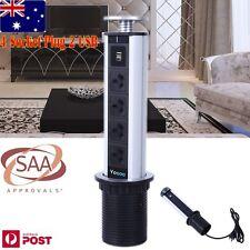 TOP Power Point Pop Up 4 Socket Plug 2 USB Table Kitchen Desk Floor Home Office