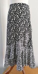 Topshop Sloral Monochrome Maxi Skirt, Black And White,  Uk10
