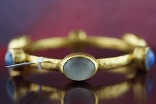 Large! Gurhan 24k Gold  Hammered Slip-on Bangle Gemstones Moonstones